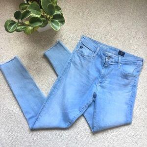 AG light wash raw hem The Farrah crop skinny jeans